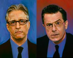 TV Duo 2 - Stewart / Colbert by astoralexander