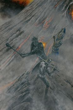 Sauron vs. Elendil and Gil-galad on Orodruin by KipRasmussen