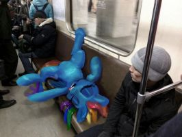 Rainbow Dash is sitting in the subway train photo by xbi