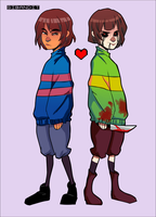 frisk and chara by sibandit
