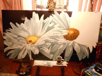 Shasta Daisies...Mother and Child...wip by ChristopherPollari