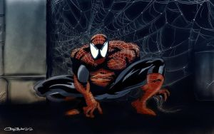 Spidey chillin by 3xcrazy