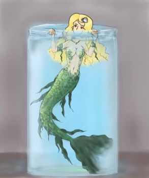Mermaid in a jar by crunchysnow