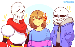 Papyrus Frisk and Sans by Rensaven