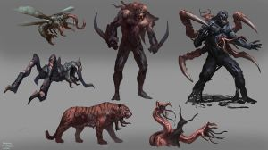 Rough Sketches: Resident evil inspired critters by RAPHTOR