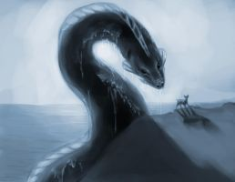 The Deer and the Water Serpent by Gelidwolf