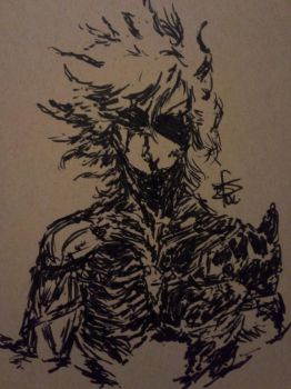 Inktober #5 - Metal Gear Rising - Raiden by MegalaniusPrime