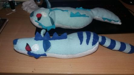 Ice wolf and ice andrewsarchus plushies by cargirl9