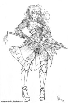 Female Warrior Fate - Lineart by MeganeRid