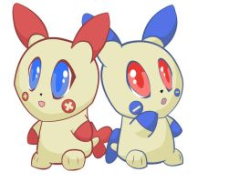 Plusle and Minun by KaidaTheDragon