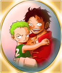 Past and Future (Zoro and Luffy from One Piece) by MajorasMasks