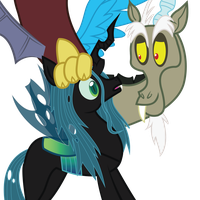 Discord and Queen Chrysalis by romansiii