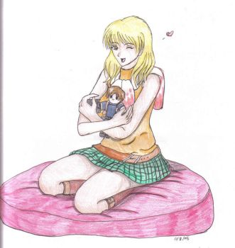 Ashley and a Leon plushie by dysfunctionalartist