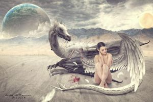 Fallen Angel with Dragon by sherry55