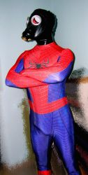 Spiderman with gasmask+rubber hood 1 by rubbermask