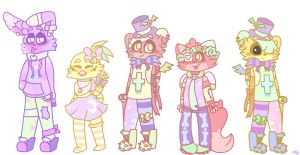 Pastel Party: FNAF 1 Crew! by FuntimeRobotics