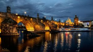 Prag - Charles Bridge at Night by pingallery