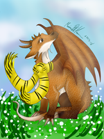 Lobito as a dragon (contest entry) by thebadgerfoxdraws