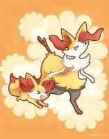 Pokemon - Fennekin and Braixen by larein