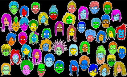 Faces Of A Night Outline by billybobjoebob4