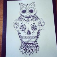 Owl And skull tattoo sketch. by themillenniumarmoury