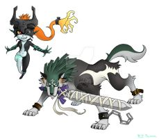 KH-Midna and Wolf Link by arvalis