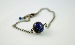 Blue and Black Anklet by michelleaudette