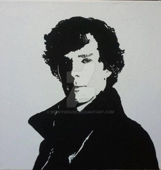 Black and white painting pop art Sherlock by BerryMouse