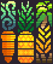 13th Pixel Art - Carrot, Pineapple, and Bananas by TrepkSoto