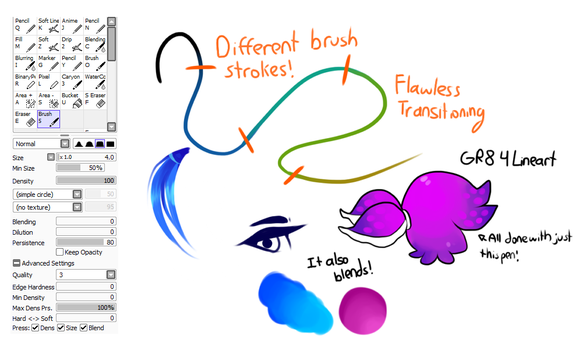 SAI Brush Settings by puppsicle