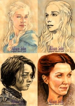 Game of Thrones sketch cards by AllisonSohn