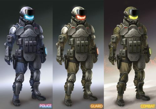 Armor designs and color variations by Lasandro