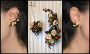 Tea roses ear cuff and stud by JuliaKotreJewelry