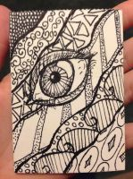 Zentangle Eye Art Card by AuroraStardust13