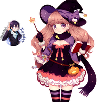 Render Halloween Witch Girl by xIbukiGoth