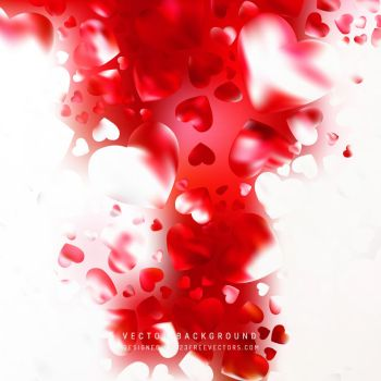 Romantic Red White Hearts Background Free Vector by 123freevectors