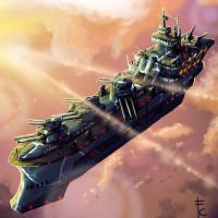 Airfortress in the dawn by LordCarmi