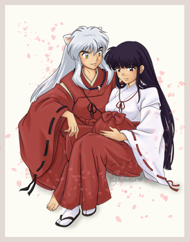 Commission: Inuyasha and Kikyo by righteousred
