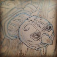 Mexican Wrestler in the Woods (very much a wip) by thegreck
