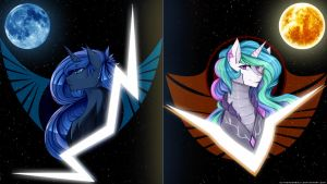 Luna and Celestia Republic Wallpaper by IIThunderboltII