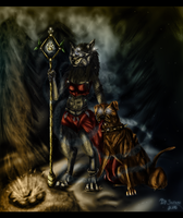 Worgen Female and Dog by shiranui14
