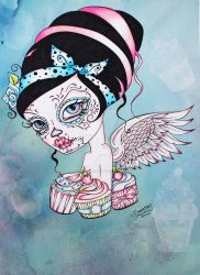 Cupcake Cutie - Pop Surreal Day of the Dead Art by concettasdesigns
