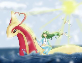 Surfing Milotic for Bustawolf by Mnemeth17