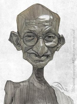 Gandhi illustration portrait by StDamos