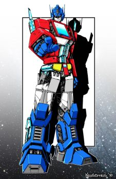 optimus prime with color by xyxuz