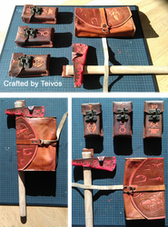 Leather pouches with an axe sheath by A-Teivos