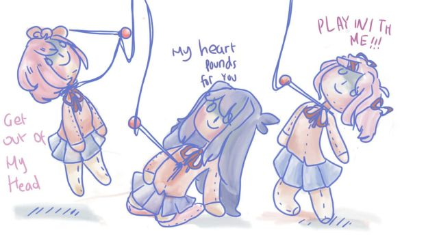 Tied strings -Doki doki literature club by justarandomfruit