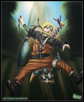 Naruto in action by Kasukiii