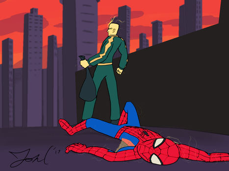 Electro Defeats Spider-Man - REDRAW by JonCausith
