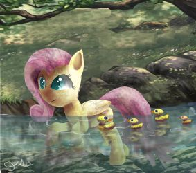 FlutterShy and Baby ducks by SuperRobotRainbowPig